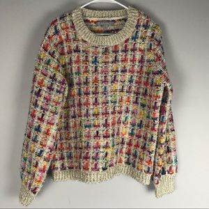 Andrew Marc colorful shimmer sweater chunky crew